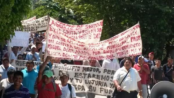 Manifestación de habitantes de Salto de Agua, Chiapas. Foto: Cortesía