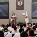 Manuel Velasco Coello acompañado de ex gobernadores, en su Segundo Informe de Gobierno. Foto: Icoso