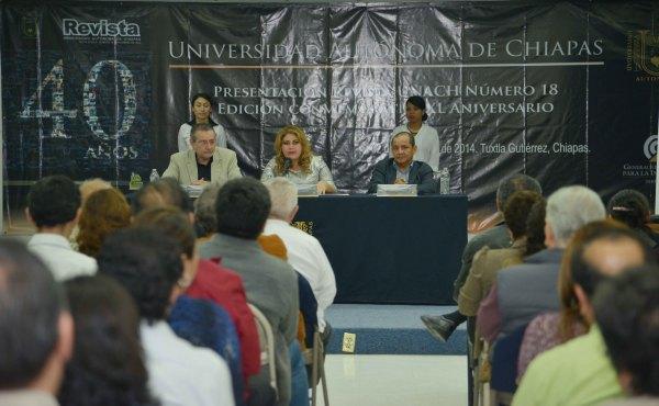 El número 18 de la revista de la Universidad Autónoma de Chiapas (UNACH), esta dedicada a los 40 años de fundación de la Máxima Casa de Estudios.