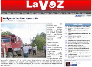 Nota del 9 de enero en el periodico La Voz del Sureste, en Chiapas.