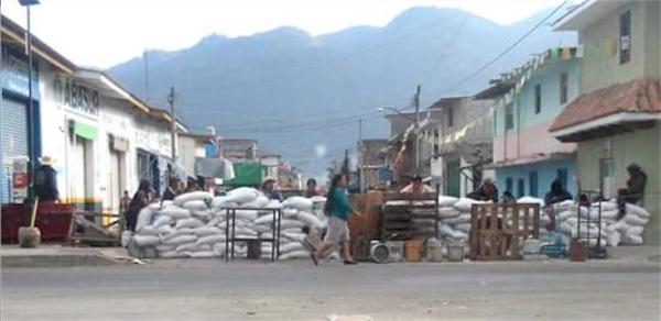 Barricada en mercado de San Cristóbal. Foto: Cortesía