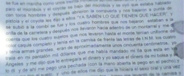 Declaración judicial de migrantes, rendida el 26-27 de diciembre de 2014 ante la Fiscalía en Delitos Cometidos en Contra de Inmigrantes (FDCCI) del gobierno de Chiapas.