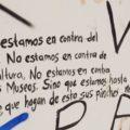 No a la cultura como negocio, pinta en Palacio Municipal de San Cristóbal. Foto: Anahid O. Egremy