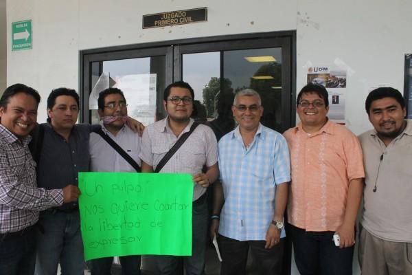 Periodistas de Tapachula exigen se detenga el acoso judicial en su contra. Foto: Cortesía