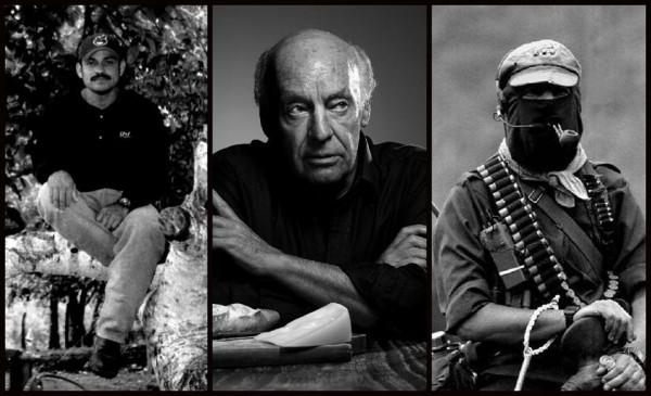 """Eduardo Galeano mantuvo una relación de solidaridad con los pueblos zapatistas, uno de cuyos líderes tomó prestado su nombre. El Galeano zapatista fue asesinado en mayo de 2014,  al enterarse del asesinato, el escritor  escribió: """"Ojalá no haya muerto en vano ese otro Galeano: yo lo continuaré, de todos modos"""".  Imagen: Desinformémonos"""