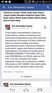 Erick Hernández Suárez como organizador pospuso la fecha de los arancones para dizque garantizar mejores medidas de seguridad.