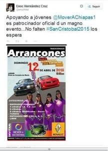 Promoción que había hecho el líder estatal de Mover a Chiapas, aunque después se pospuso la fecha para el 19 de abril.