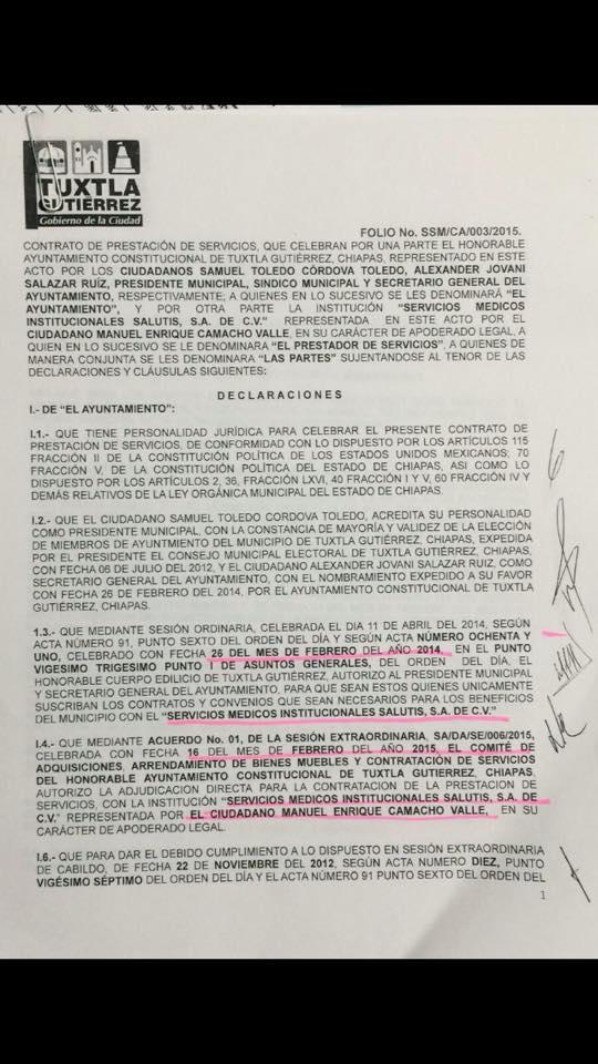 La carátula del contrato de 11 páginas
