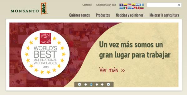 Publicidad en la página web de Monsanto