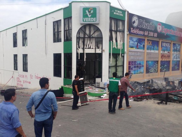 La sede del PVEM municipal de Tuxtla también fue tomada por el magisterio federalizado. Foto: Isain Mandujano/ Chiapas PARALELO.
