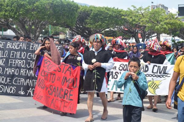 Sobrevivientes de Acteal manifestación en Tuxtla Gutiérrez, Chiapas. Foto: Cortesía