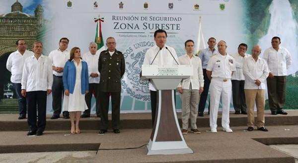 El Gabinete Nacional de Seguridad y los gobernadores del sur-sureste en la reunión del 7 de septiembre en Chiapas. Foto: Segob