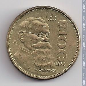 México, 100 pesos, 1986