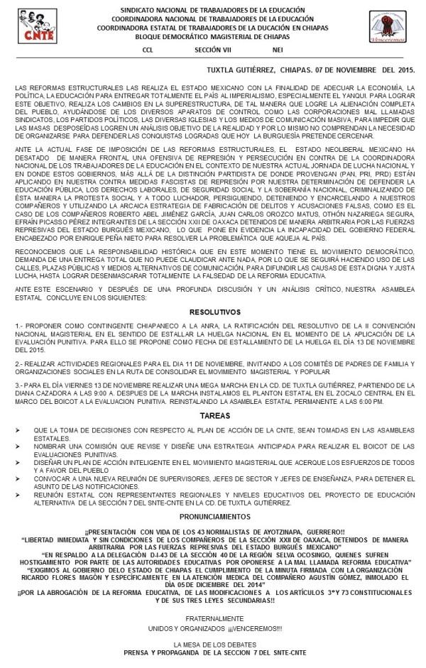 Acuerdos de la CNTE