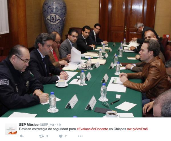 Anuncio de la reunión con Policía Federal. Foto: SEP