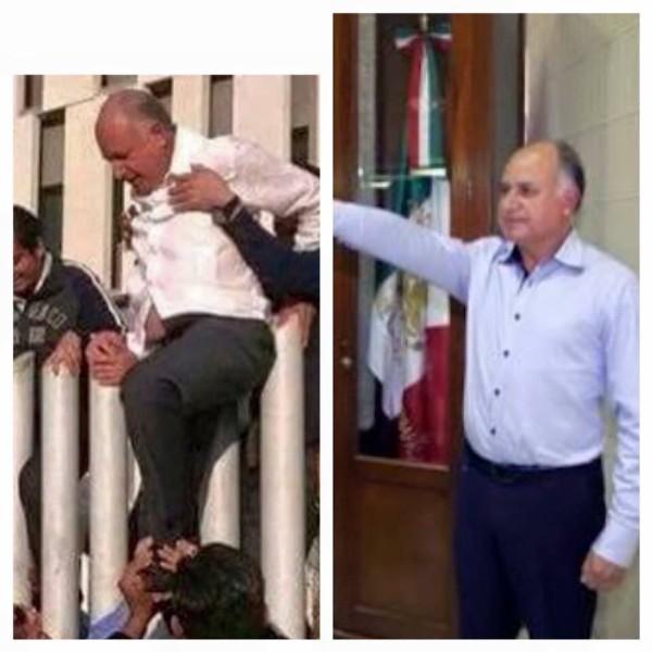 """El Secretario de Turismo, Mario Uvence saliendo de una manera """"alternativa"""" de la Torre Chiapas."""