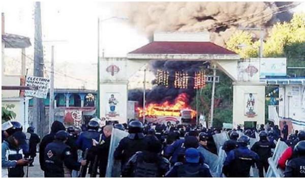 Manifestaciones en Oxchuc. Foto: Cortesía