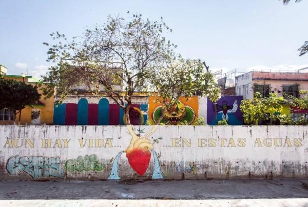 Uno de los murales pintados en el río Sabinal. Foto: Cortesía.