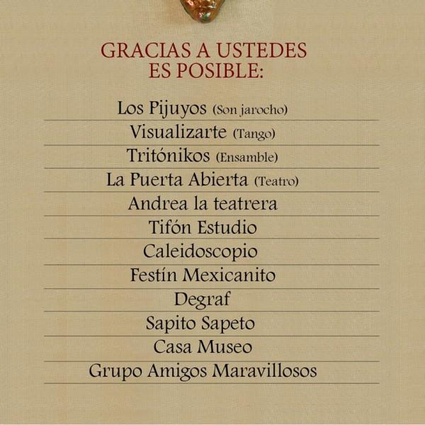 Cartelera de las actividades que se presentarán en el festejo del aniversario de la Galería Rodolfo Disner.