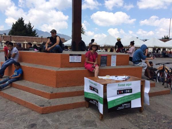 En San Cristóbal y Tuxtla Gutiérrez se instalaron módulos para recolectar firmas. Foto: Ernesto Gómez Pananá/ Cortesía.