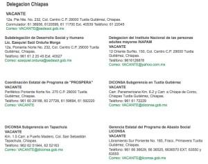 Vacantes anunciadas en la página de Sedesol.gob.mx