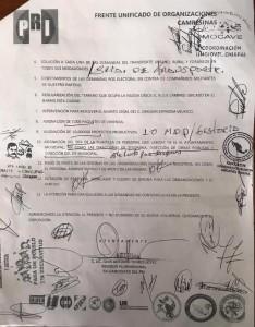 Pliego petitorio de los priístas encabezados por el regidor del PRI, Juan Antonio Torres López