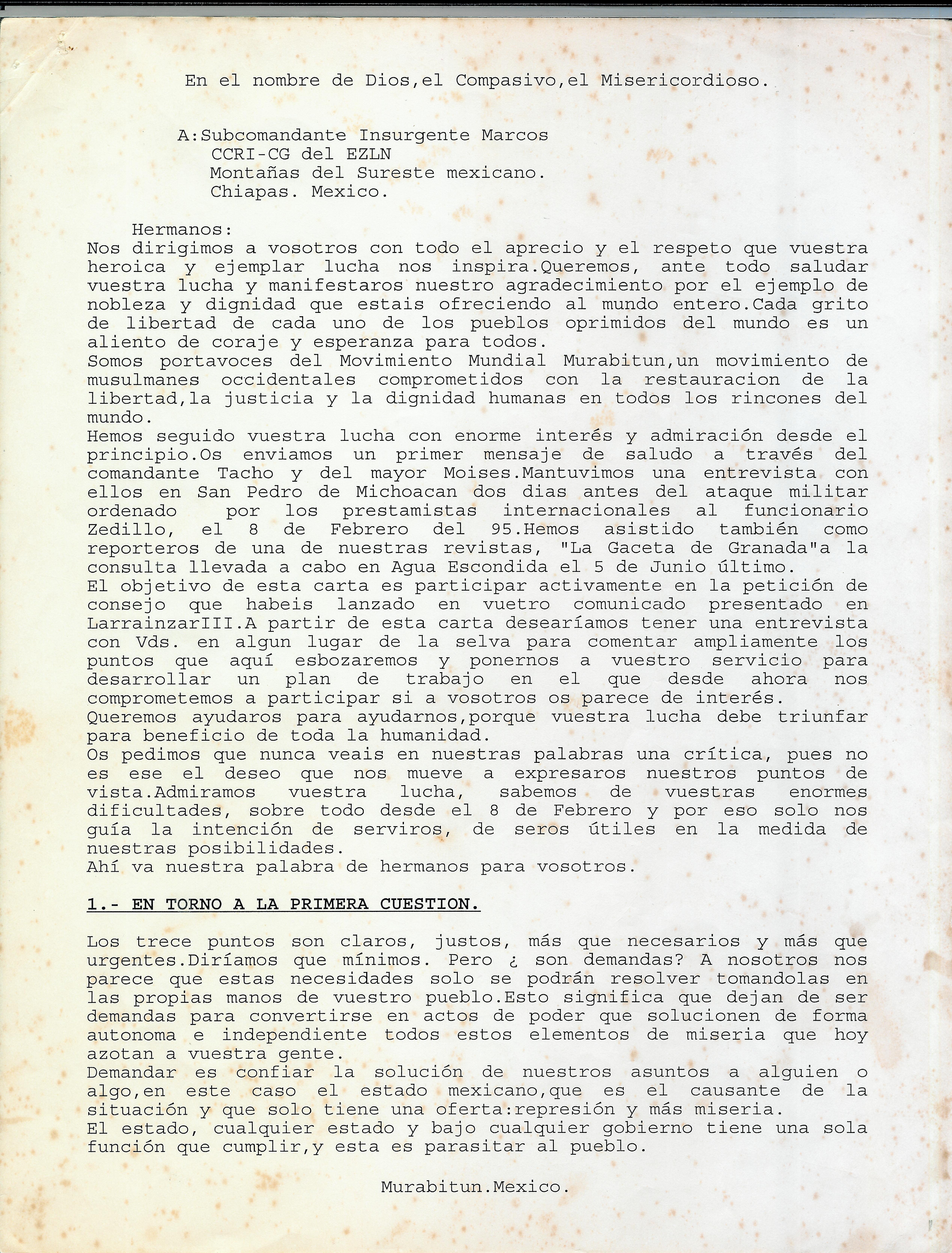 Carta Murabitun a Marcos. Foto: Archivo Gaspar Morquecho