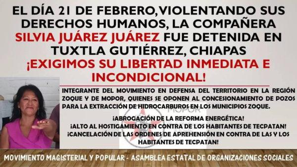 Con campaña nacional e internacional, exigen a Peña y Velasco: libertad de activista de Tecpatán