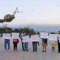Esta fue una protesta de un grupo de chiapanecos y chiapanecas externaron su inconformodidad con la Ley de Seguridad Interior en el Monumento a la Paz en Tuxtla Gutiérrez. Foto: Andrés Domínguez