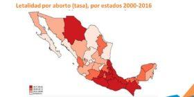 Mapa de tasas por mortalidad por aborto