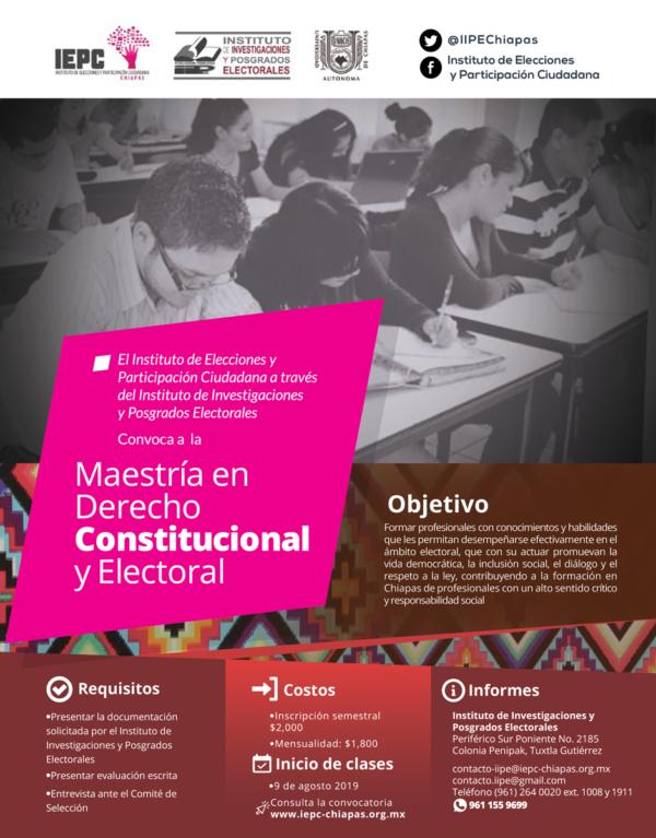 INICIA LA ETAPA DE REGISTRO PARA LA MAESTRÍA EN DERECHO CONSTITUCIONAL Y ELECTORAL