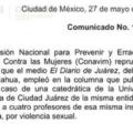 Exige Conavim a El Diario de Juárez disculpa pública para maestra violentada
