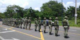 Militares de la Guardia Nacional en operativo para detener migrantes en la frontera sur. Foto: Cortesía
