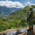 A soldier member of the national guard in the community of Santa Marta, Chiapas where people is figthing over territory with the neighboring muncipality of Aldama.
