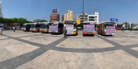 Por 10 años, el Conejobus ha dado servicio en la capital. Originalmente fueron 100 unidades, actualmente circulan 41. Foto: Gaby Coutiño