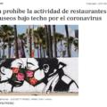 California prohíbe la actividad de restaurantes, bares, cines y museos bajo techo por el coronavirus.