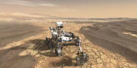 representación artística del Rover Perseverance sobre la superficie de Marte. Crédito: NASA