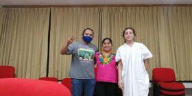 Carlos Chambor Sanchez, María Esther Velasco García y Ernesto Chancayun Kin. Cortesía: María Esther Velasco García