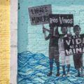 """«No nos vamos a levantar de aquí hasta que se vayan las máquinas. No tenemos miedo, tenemos valor para estar aquí aunque nos digan que ya nos demandaron». Defensora del Frente Popular en Defensa del Soconusco 20 de junio (FPDS) durante el plantón """"José Luciano"""" que impedía el paso a la mina """"Casas Viejas"""" en el municipio de Acacoyagua en Chiapas, México."""