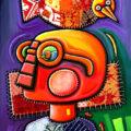 Alfredo Sosabravo, Personaje con pájaro. 2006, Oleo y collage sobre lienso, 31.4x 23. 8 pulgadas
