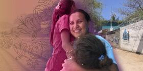 Composición fotográfica. Ana Cristina Vicente, originaria de Tolupán, Honduras, sonríe mientras abraza a sus dos hijas. Ella migró a México porque su comunidad quedó devastada tras los huracanes Iota y Eta en el año 2020. Foto: Diana Manzo. Ilustración: Giovanni Salazar.