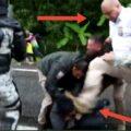 Se denota la actuación de una integrante del Instituto quien patea con su bota en la cara a un integrante, antes lo había forcejeado.