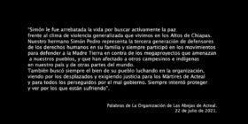 Simón Pedro, palabras finales del documental en su memoria.